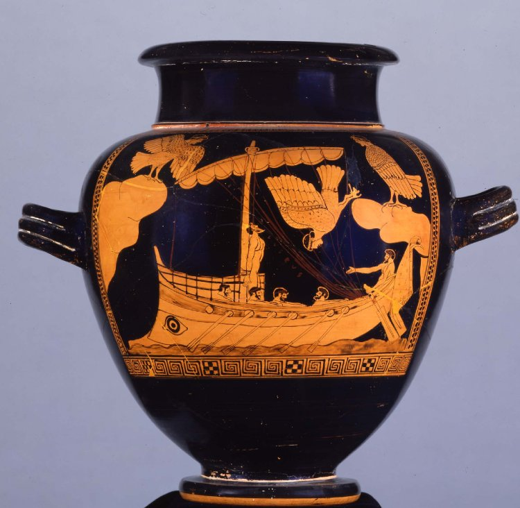The Siren Vase, depicting the ship of Odysseus passing the Sirens(c. 480BC-470BC). British Museum.