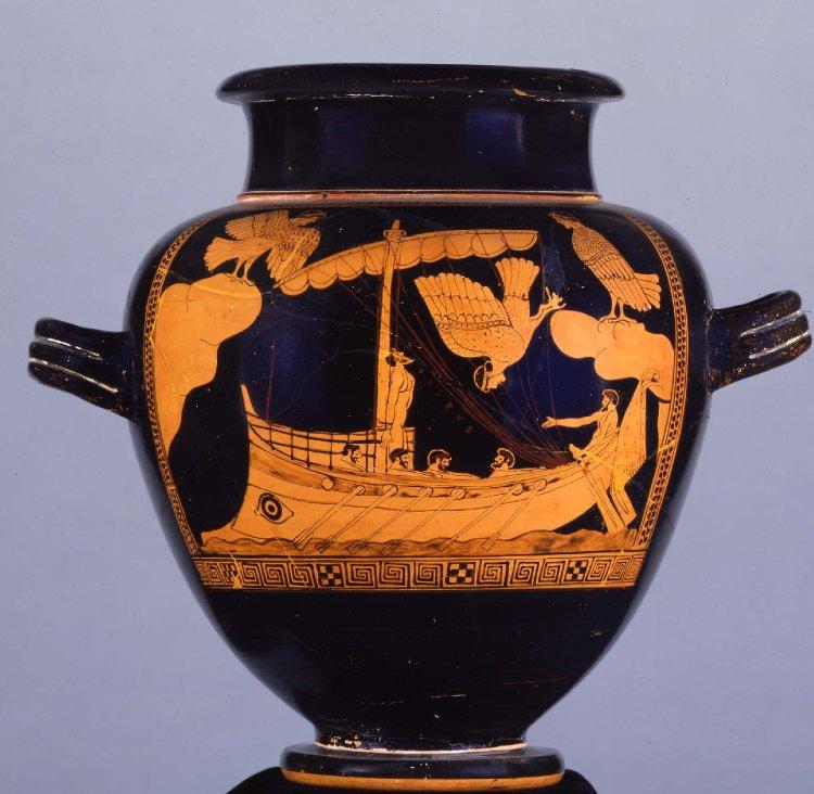 The Siren Vase, depicting the ship of Odysseus passing the Sirens(c. 480BC-470BC). British Museum.